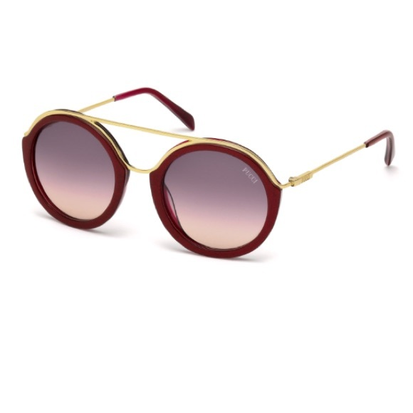 e0d3547b44 Emilio Pucci Red Gold Round Sunglasses